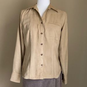 Ann Taylor Loft Beige Faux Suede Shirt, Sz Small